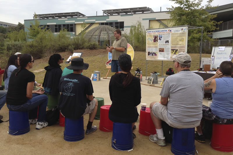Los Angeles K-12 educators and stewardship practitioners participate in an urban ecology education workshop.