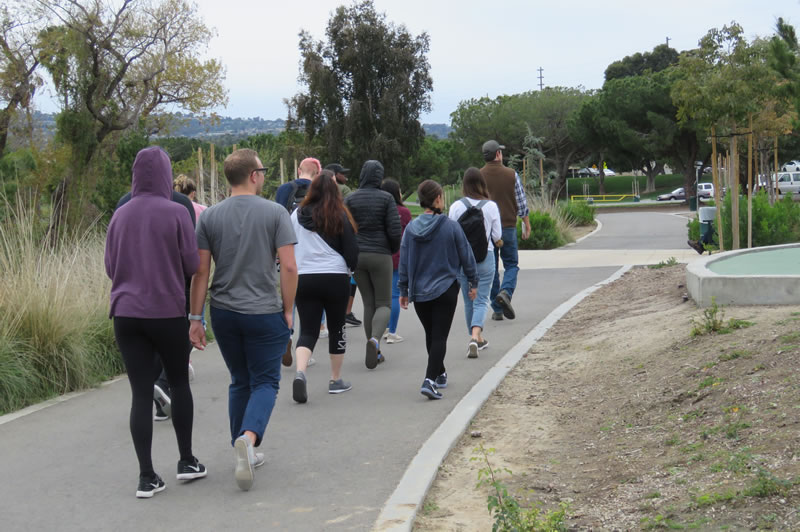 Participants in a walking tour of the Machado Lake Ecosystem Rehabilitation Project, near the Los Angeles Harbor.