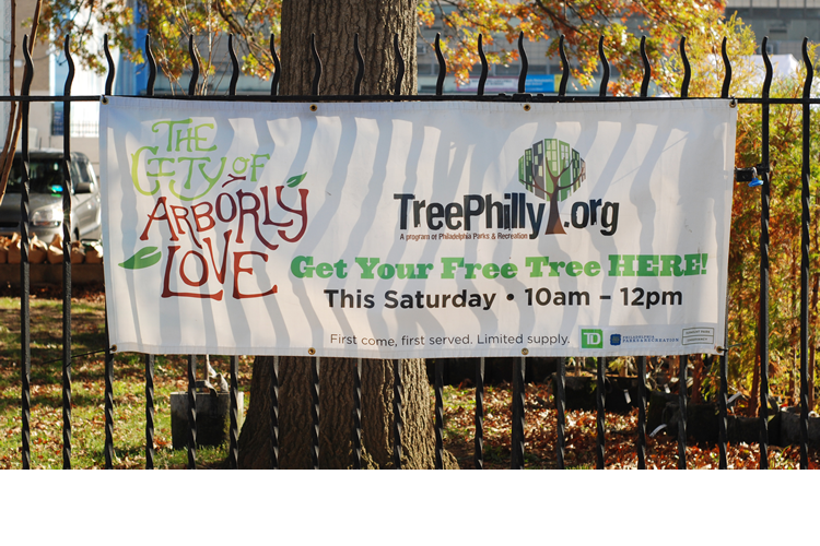 Sign for TreePhilly tree give-away event in the City of Arborly Love!
