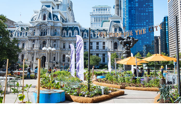 The PHS Farm For The City is an interactive exhibit and working urban farm, showcasing the role that community gardeners play city-wide in strengthening Philly neighborhoods. Photo by: the Pennsylvania Horticultural Society.