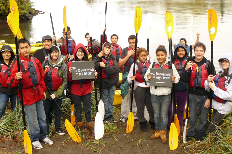 The Duwamish Valley Youth Corps after completing a kayak powered scoping and info gathering session along the Duwamish River. Image Credit: Duwamish River Cleanup Coalition