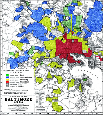 [image:] 1937 Home Owners' Loan Corporation map for Baltimore city describing the state of various neighborhoods based on attributes such as housing quality, household occupation, race and ethnicity, and amenities such as park access.