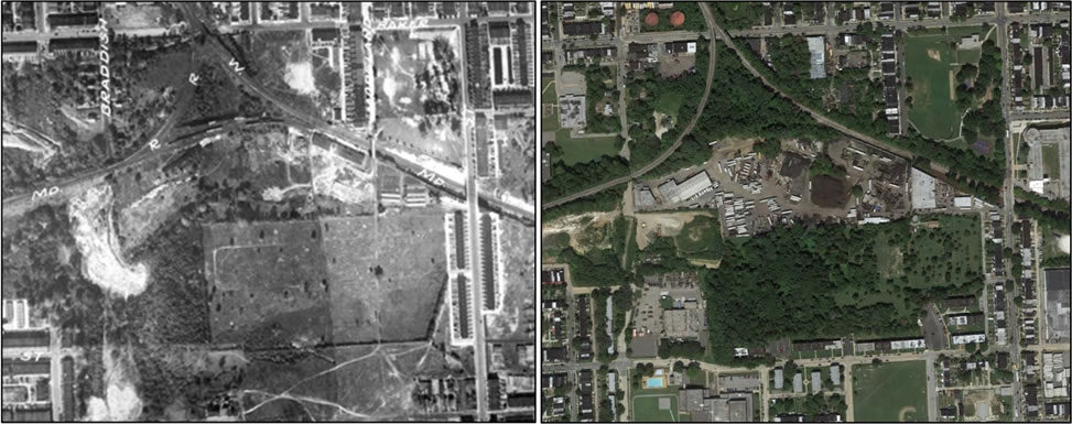 [aerial photos:] St. Peter's Cemetery, 1927 (left) and 2010 (right). In 1927, land on the western border of the cemetery was forested. Today, the property has become reforested, while lands outside the cemetery's boundaries have been cleared.