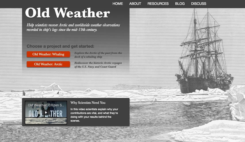 """Old Weather,"" an example of ""people-powered"" research on Zooniverse. In this case, the public transcribes 19th century ships' logs to help document Arctic climate change for a project co-sponsored by NOAA."
