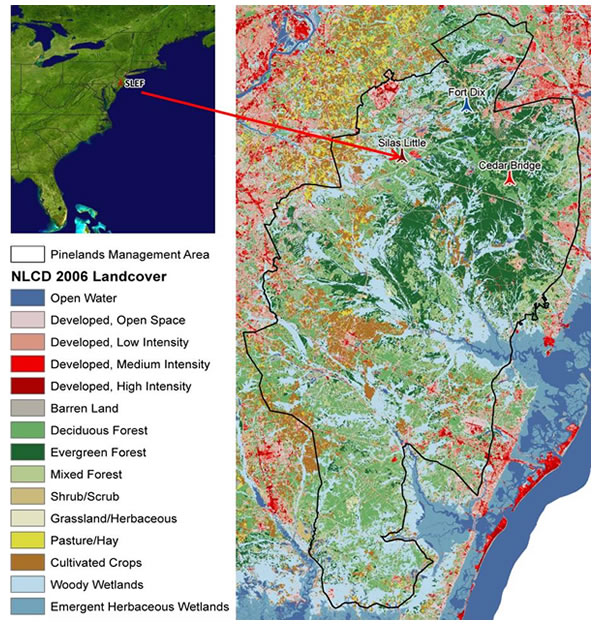 Slef Intensively Monitored Sites In The Pinelands National Reserve Of New Jersey Overlaid On National Land