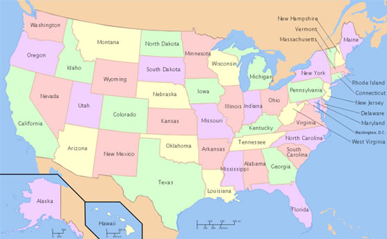 map of the us with states