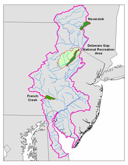 [image:] Locations of intensive monitoring and research areas within the Delaware River Basin.