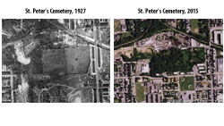 [photo:] Side-by-side aerial photos of St. Peter's Cemetery in Baltimore taken in 1927 and 2015.