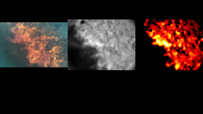 Visible and infrared imagery of fires.