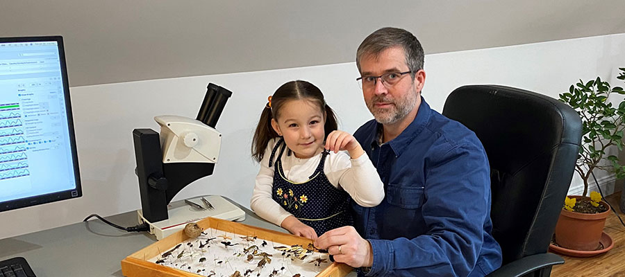 Research Entomologist Nathan Havill and his daughter study an insect collection.