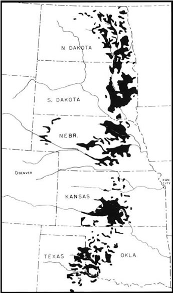 [photo:] Major Planting Areas of the Prairie States Forestry (Shelterbelt) Project, 1935-1942.