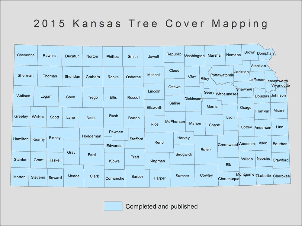 [image:] Status map of tree cover mapping in Kansas.