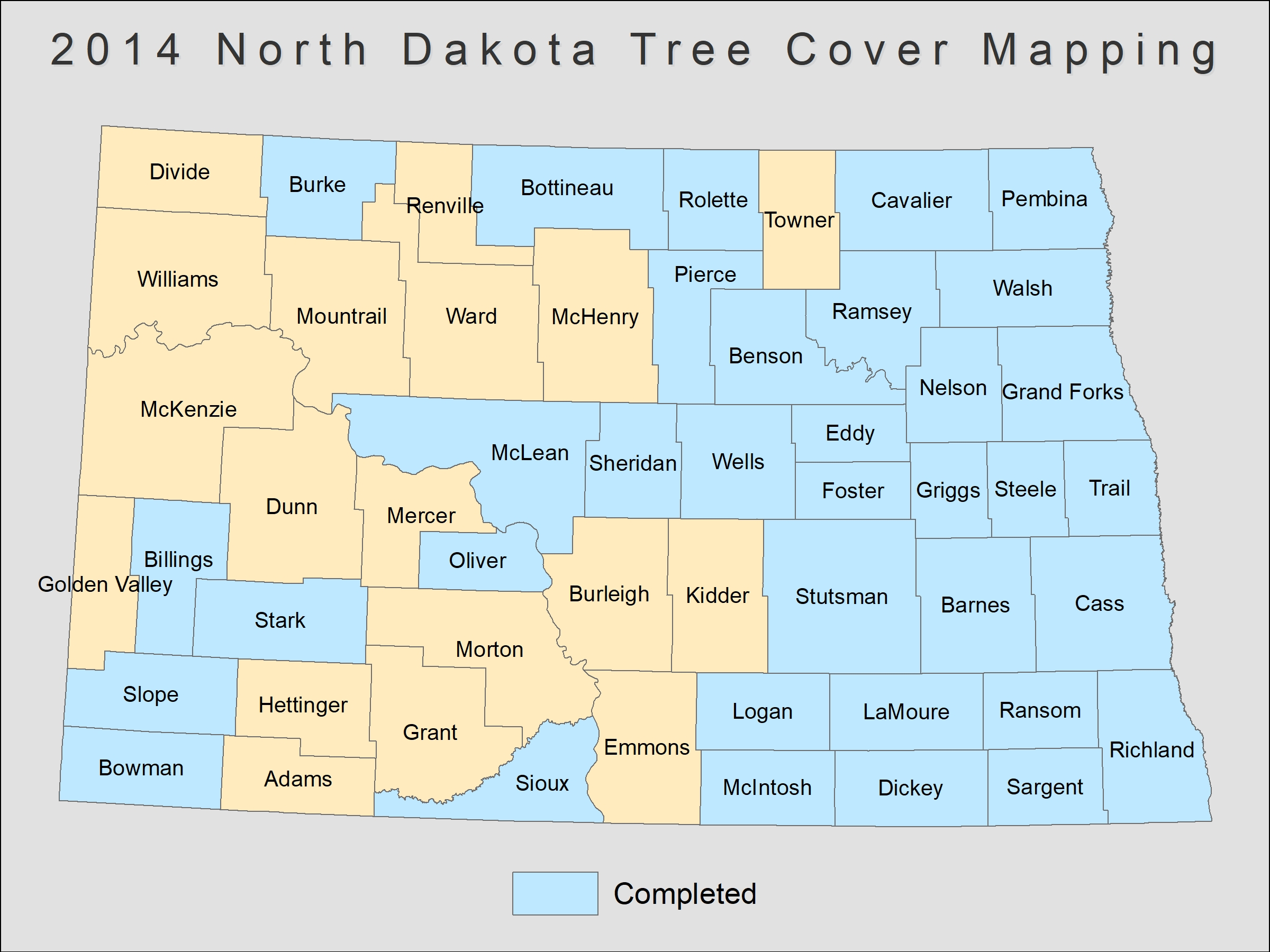 [image:] Status map of tree cover mapping in North Dakota.