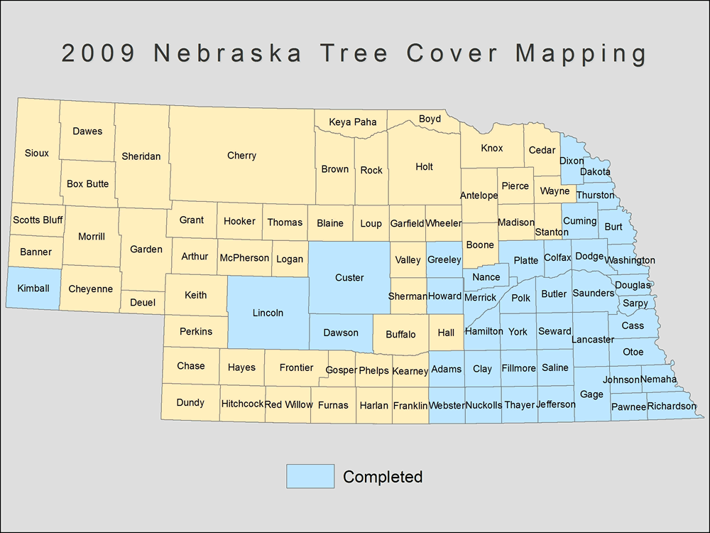 [image:] Status map of tree cover mapping in Nebraska, 2009.