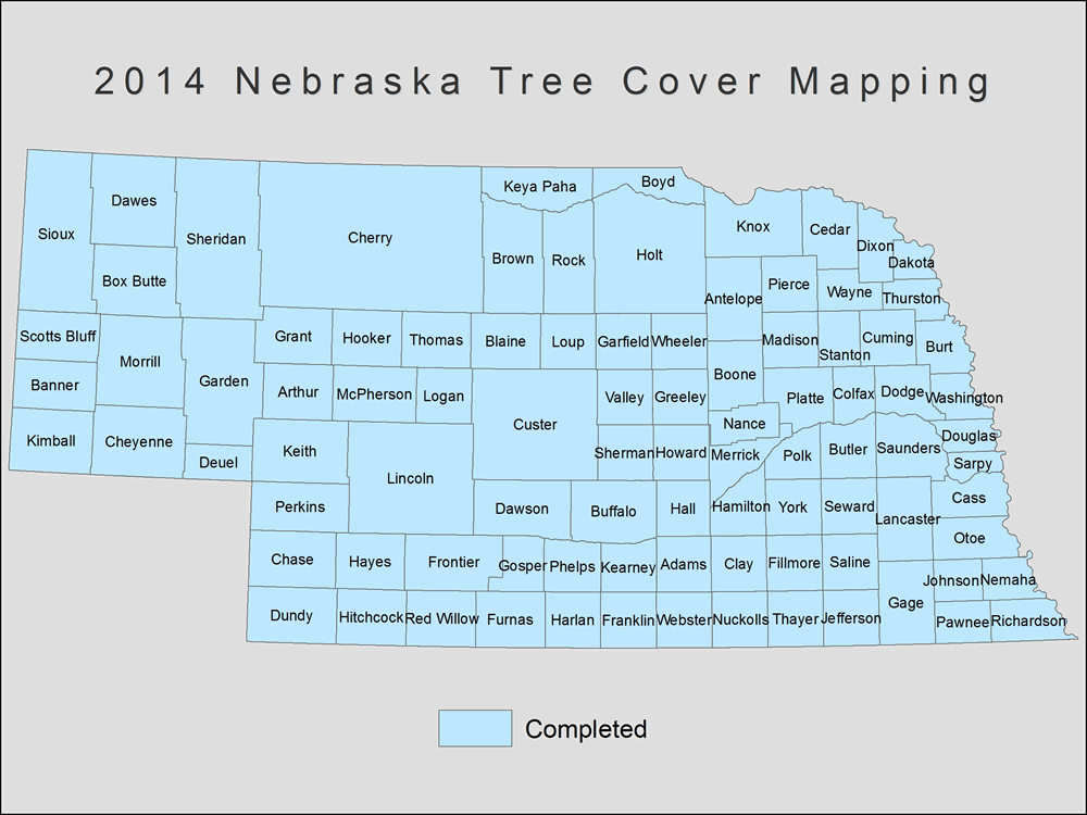 [image:] Status map of tree cover mapping in Nebraska, 2014.