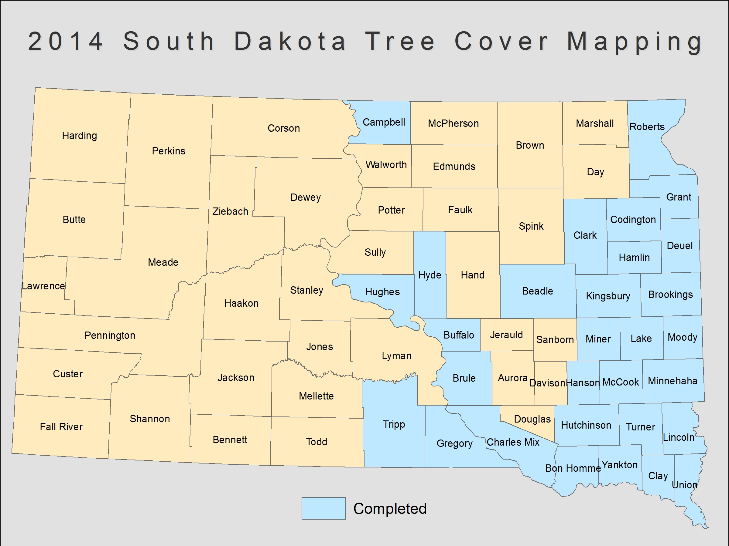 [image:] Status map of tree cover mapping in South Dakota.