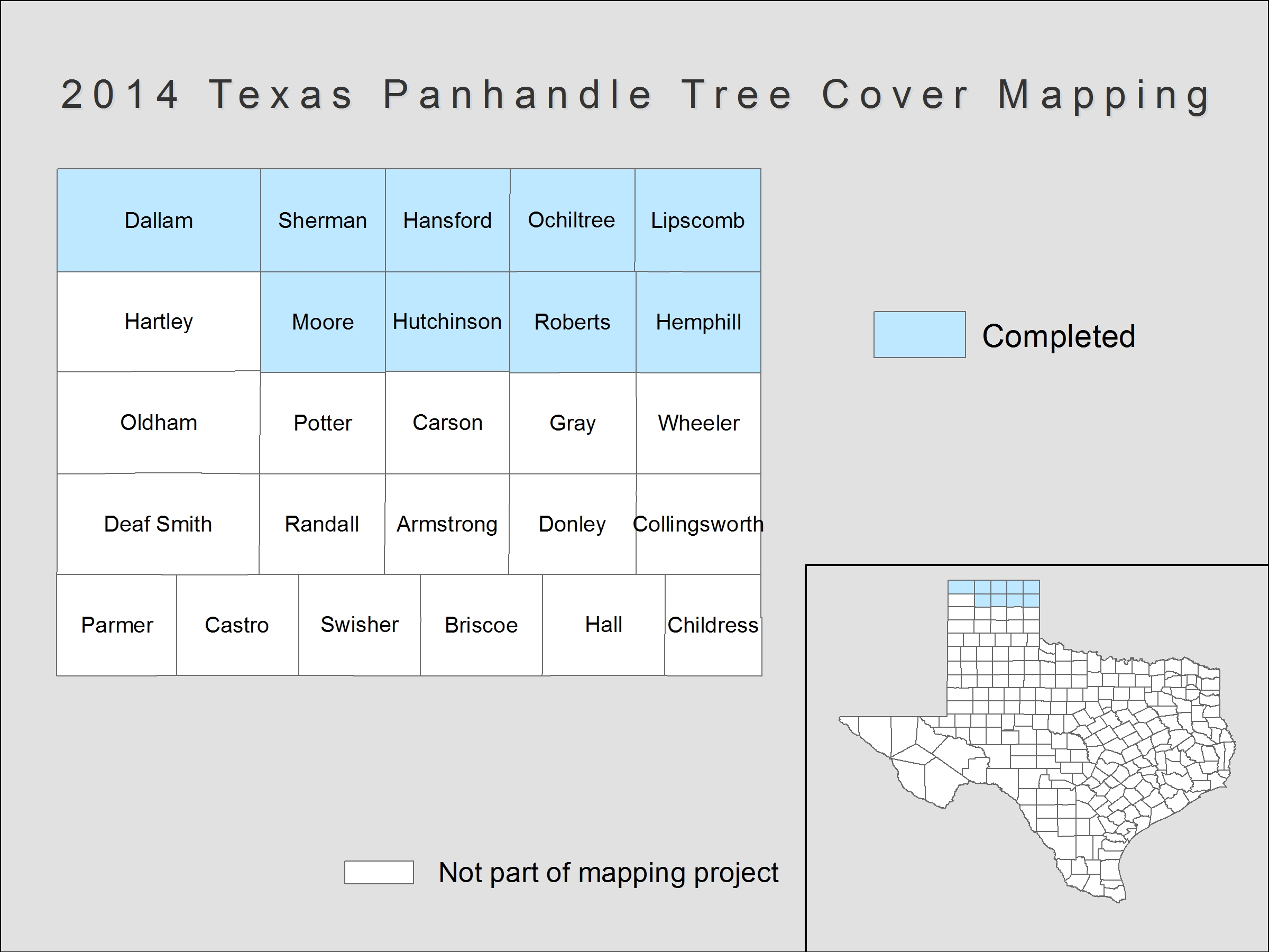 [image:] Status map of tree cover mapping in Texas.