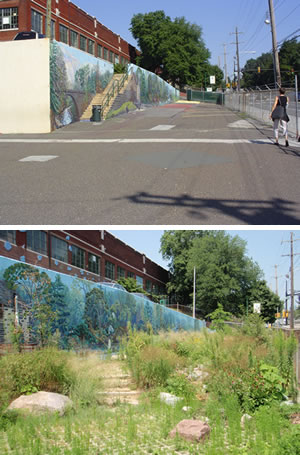 Before and After: Green stormwater infrastructure replaced pavement at the Wissahickon Charter School in Philadelphia. Photo courtesy of the Philadelphia Water Department.