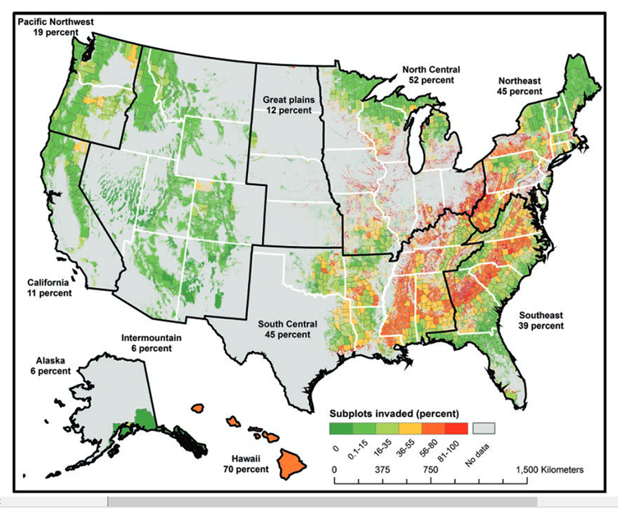 Figure 10.2 from book: Percent of forested subplots invaded by one or more monitored plant species as collected by the USDA Forest Service Forest Inventory and Analysis program