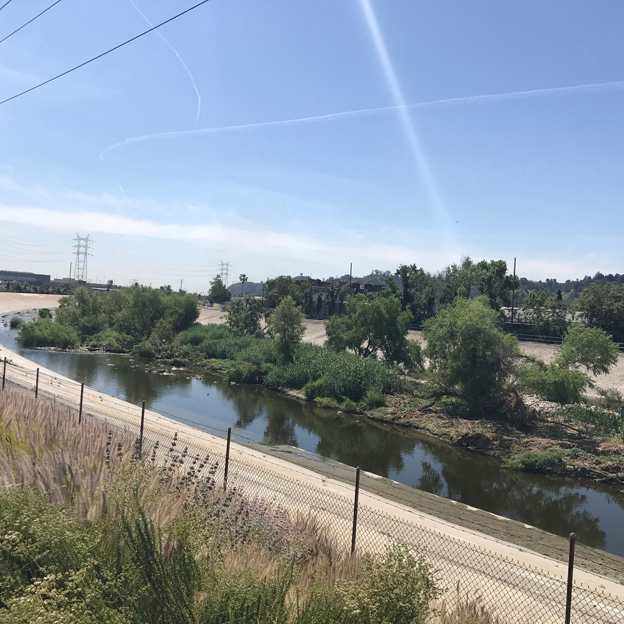 Los Angeles River by the Bowtie Parcel Park. Photo by Yassy Wilkins, USDA Forest Service - State & Private Forestry, Los Angeles Urban Center for Urban Natural Resources Sustainability
