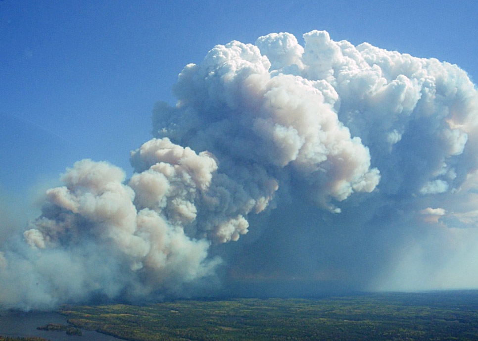 Smoke column on the Pagami Creek Fire in the Boundary Waters Canoe Area Wilderness, Minnesota, USA. USDA Forest Service Photo