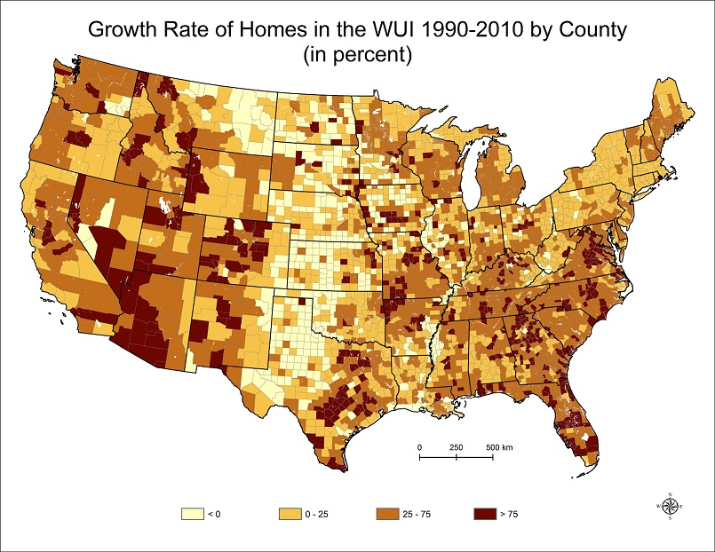 Growth Rate of Homes in the WUI 1900-2010 by County (in percent)