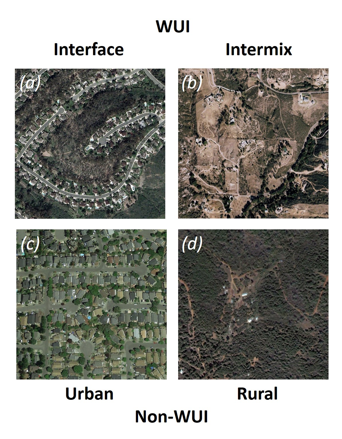 Images of (a) interface wildland-urban interface (WUI) (in the2003 Cedar fire); (b) intermix WUI (in the 2007 Witch fire); (c) urban non-WUI (in the 2017 Tubbs fire); and (d) rural non-WUI (in the 2008 BTU Lightning complex).