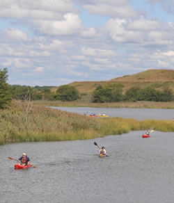 [photo:] Kayakers in Freshkills Park. Photo courtesy of the City of New York.