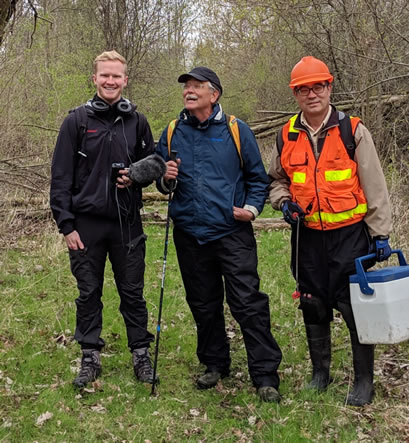 Jon Yales, Roy Von Driesche, and Jian Duan preparing to find eab infested ash trees.