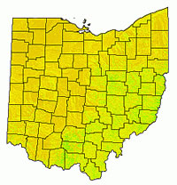 [image:] Map of Ohio showing county boundaries. A statewide IMI indicates dry sites (brown) and sites with increasing moisture (yellow to green).