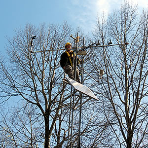 [photo:]Ian Halm is installing sensors on the tower at the meteorological station at Marcell Experimental Forest