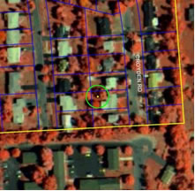 [photo:] Color-Infrared aerial photo showing circular UFORE plot, residential area, Syracuse, NY  *** Sharon, size and position this wherever it looks good.