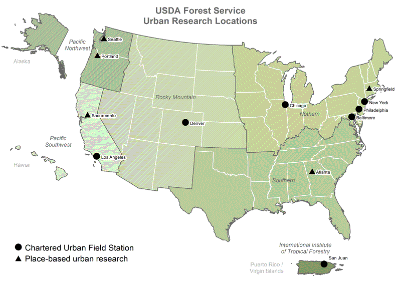 Thumbnail image of USDA Forest Service Urban Research Locations map