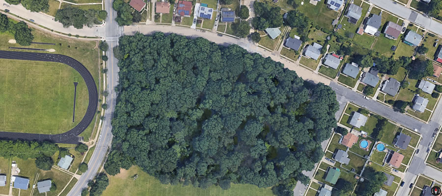 Satellite view of Hepp Park in Baltimore.  Google Image.